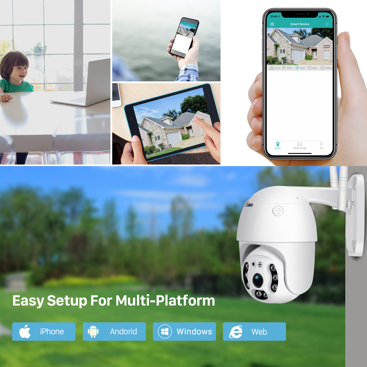 Hed68372dd66946989c07c64fbb791cceV BESDER 1080P Outdoor Speed Dome Wifi Camera 2MP H.265 Audio PTZ Wireless Camera Cloud-SD Slot ONVIF Home Surveillance IP Camera