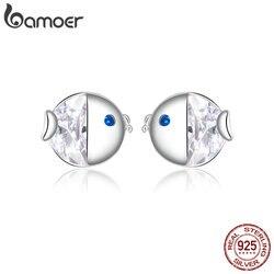 bamoer Crystal Kissing Fish Stud Earrings for Women Ear Studs Jewelry for Girls Kids Birthday 925 Sterling Silver Jewelry BSE204