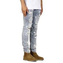 Мужские джинсы в стиле хип-хоп, рваные, с брызгами чернил, обтягивающие байкерские джинсы, рваные, мотоциклетные, уличная одежда, мужские джоггеры, высокое качество, деним, AB35