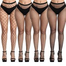 Mulher sexy transparente fino fishnet meia-calça boate net buracos collants coxa meias altas pequeno/médio/médio grande/grande malha