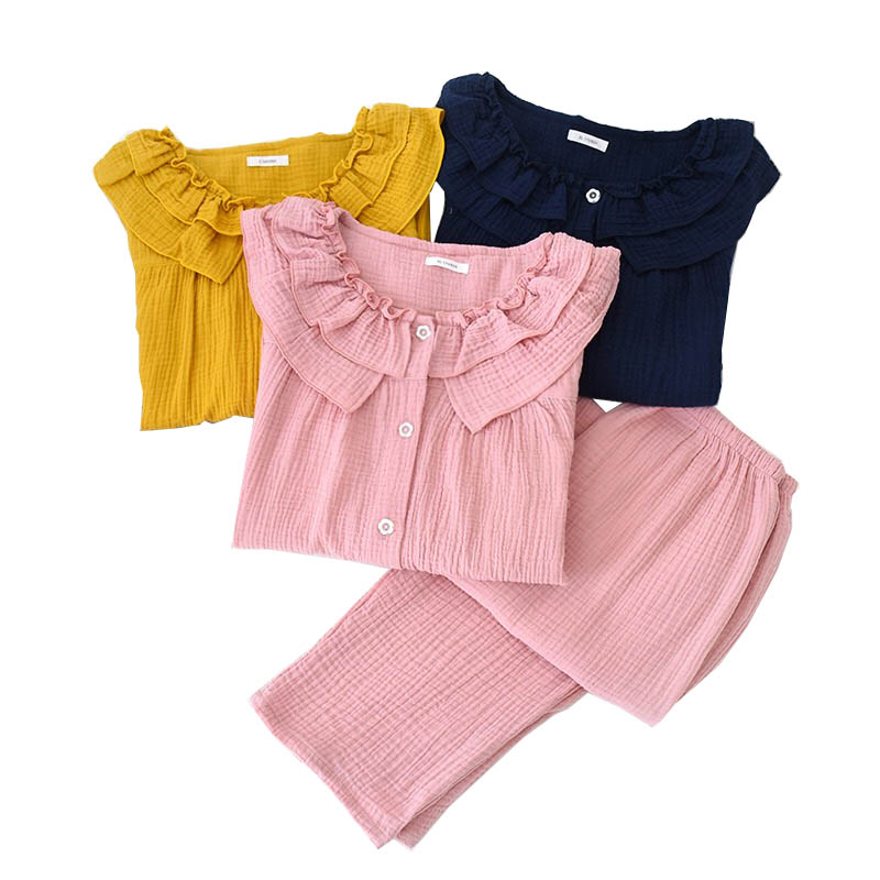 Women Solid Color Loose Pajamas Set Wide Sleeves Clothes+Pants Ladies Sweet Sleepwear Comfort Gauze Cotton Homewear For Spring