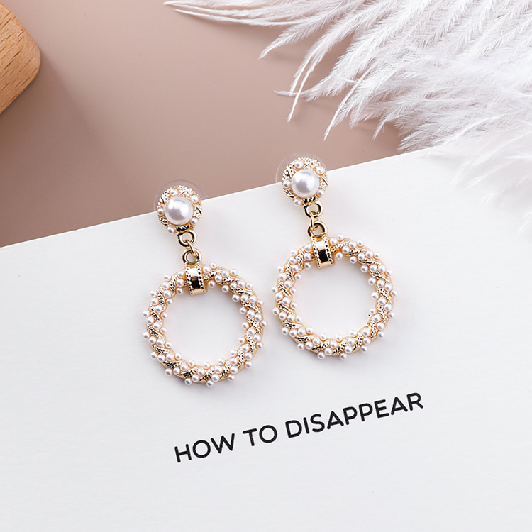 Hed68821d6be2482c9843dfd85fe85e6cv - Fashion Simulated Pearl Statement Big Small Hoop Earrings for Women Exaggerate Circle Earrings Personality Nightclub Jewelry