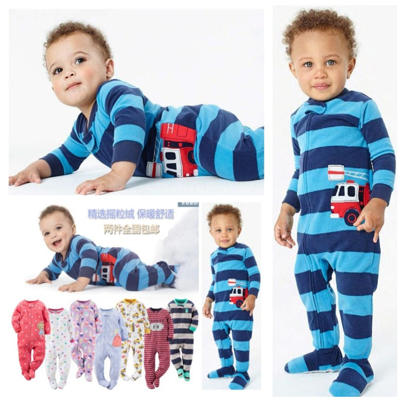 Children's fleece boy girl large size Siamese romper with feet Siamese clothes Harbin warm pajamas spring and autumn and winter 3