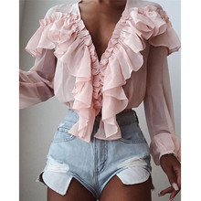 Pink Stylish Tops Autumn Ruffles Blouse Women Sexy V neck Lo