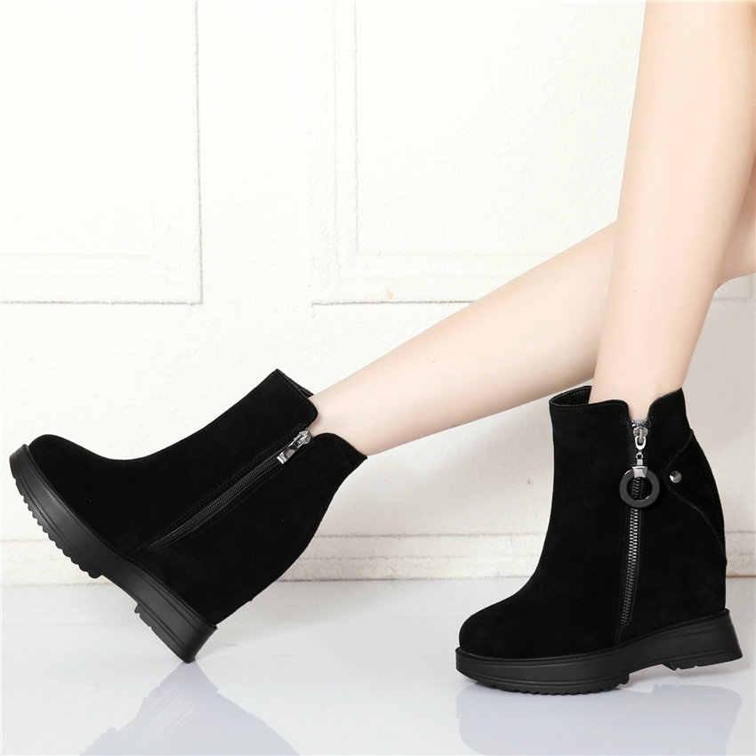 Giày Casual Nữ Da Bò Cao Cấp Gót Đế Xuồng Mắt Cá Chân Giày Cao Hàng Đầu Mùa Đông Ấm Áp Nền Tảng PumpsRound Mũi Giày Đế Mềm Thời Trang