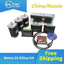 무료 배송 3 pcs tb6600 스테퍼 모터 드라이버 + 3 pcs nema23 425 oz in 모터 + 1 set mach3 + 1 pcs cnc 용 350 w 36 v 전원 공급 장치