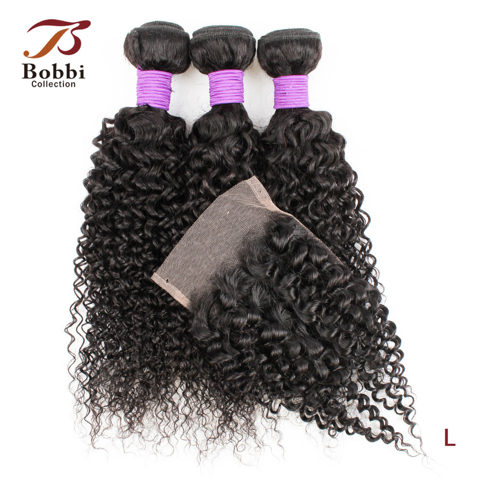 Bobbi Collection 3 Bundles With Closure 200g/set Jerry Curly Hair Weave 12-22inch With 8 Inch Closure Indian Non-Remy Human Hair
