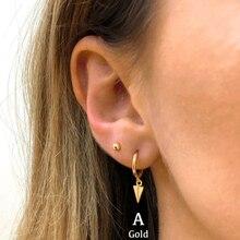 Spike Hoop Earrings Women 925 Sterling Silver Set Of 3 Small Hoops Tiny Zircon Earring Gold Huggie Fine Jewelry Brinco