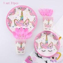 Serviette Jetable Rose Unicorn Tableware Paper Towels Napkins Birthday Party Festival Animal Cartoon Animation  Theme Pink  Girl