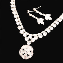 Ladies Exquisite Zircon Rhinestone Drop Necklace Earrings Jewelry Set Wedding Bride Bridesmaid Party Jewelry Gift high grade bridal wedding flowers dream korean drop necklace earrings hollow butterfly jewelry sets married bride jewelry