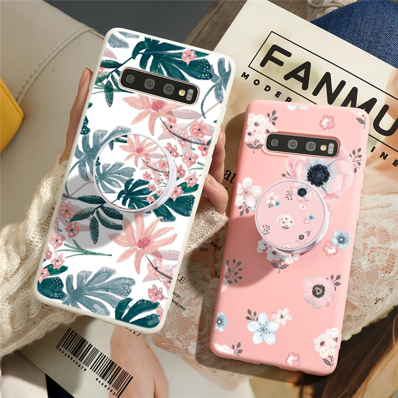 Floral Girl Stand Holder Case For Samsung Galaxy S8 S9 S20 Ultra S10 Plus S10e J6 J4 Plus 2018 J5 J7 2017 Phone Bag Cover Coque