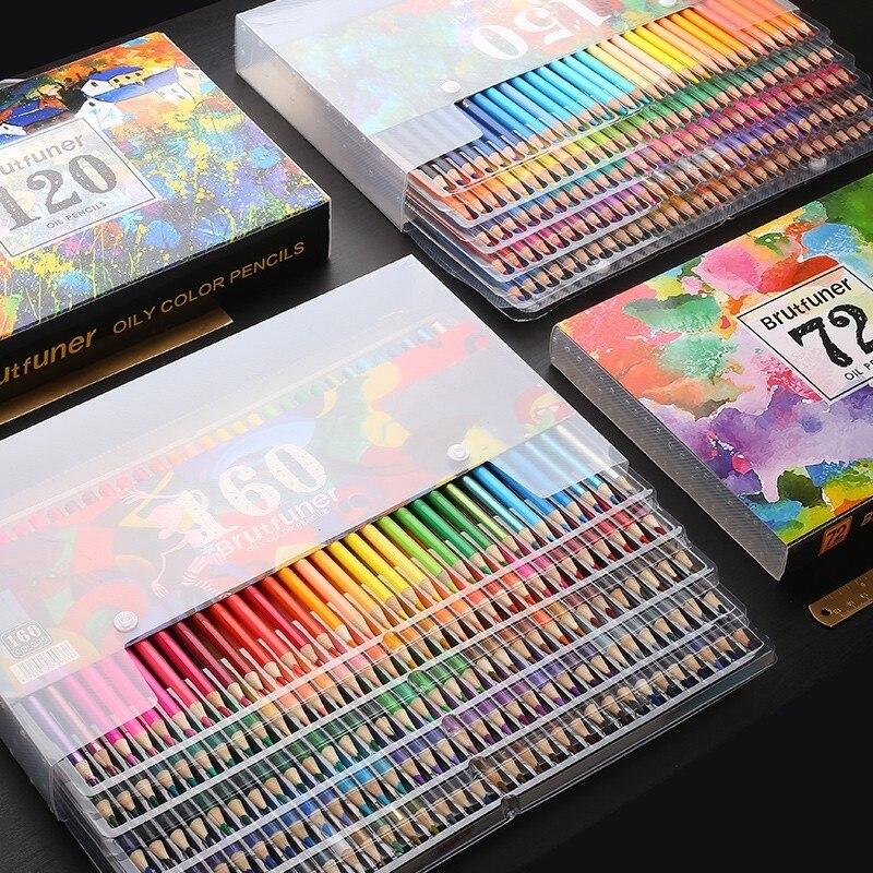 Brutfuner – ensemble de crayons de couleur à l'huile professionnels, en bois doux, pour aquarelle, dessin, croquis, fournitures d'art, 48/72/120/160/180