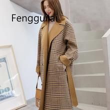 FENGGUILAI Long Sleeve Winter Wool Coat Women Europe Style Large Size Casaco Feminino Ladies Autumn New Slim Woolen Coats