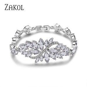 Женский браслет ZAKOL, классический браслет с листом маркиза, кубическим цирконием, многоцветные браслеты с кристаллами, модные украшения в в...