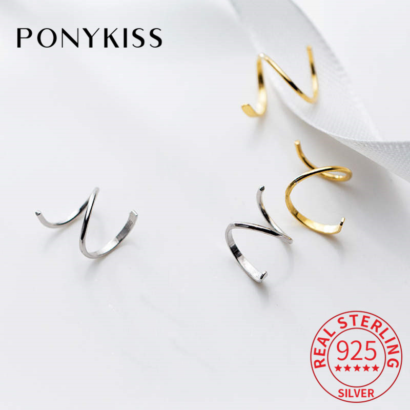 PONYKISS 100% 925 Sterling Silver Chic Wave Spiral Geometric Hoop Earrings Women Party Simple Fashion Accessory Delicate Gift