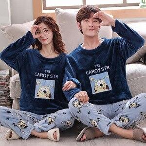 Image 3 - Çift pijama setleri kalın sıcak kış pazen pijama pijamalar erkekler ve kadınlar sonbahar konfor uzun kollu pijama takım gecelik