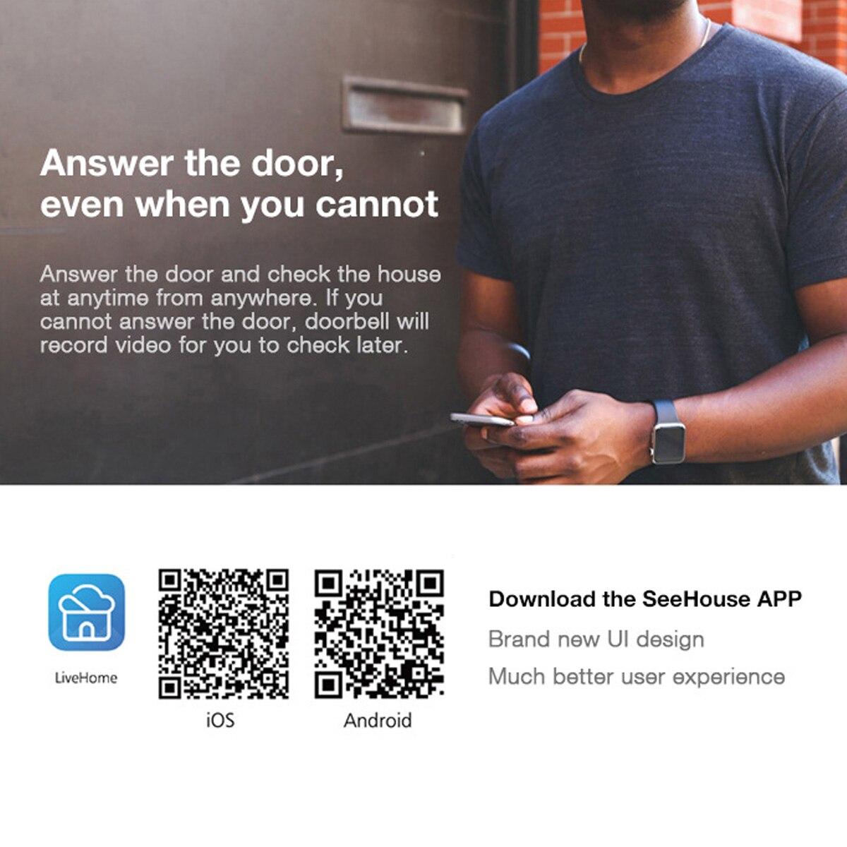720P 166° Wifi Smart Wireless Video Doorbell Movement Detecting Rainproof