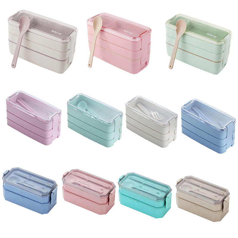 3-Layer Portable Wheat Straw Lunch Box Food Storage Case Container Dinnerware Microwave Bento Box For Student School Office Home