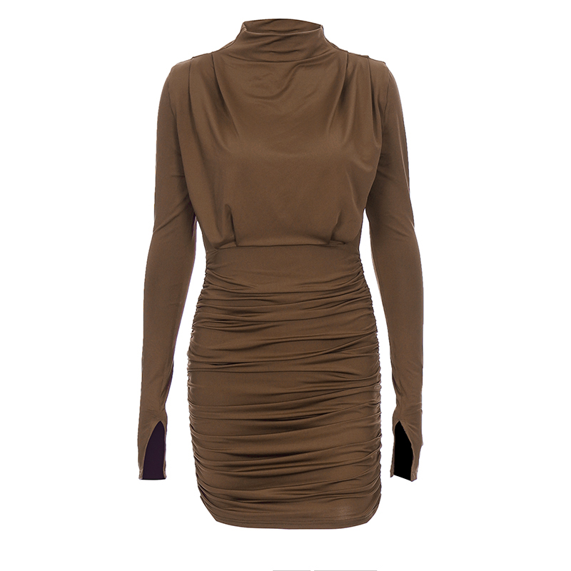 Long sleeve ruched pure sexy mini dress autumn winter women streetwear party outfits clubwear - dresses