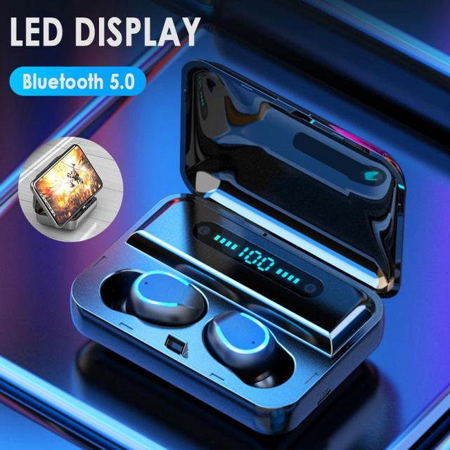 Mini Earphone Bluetooth 5.0 F9-5 TWS True Wireless Bluetooth Earphone LED Display Breathing Light2000mAh Power Bank Headset