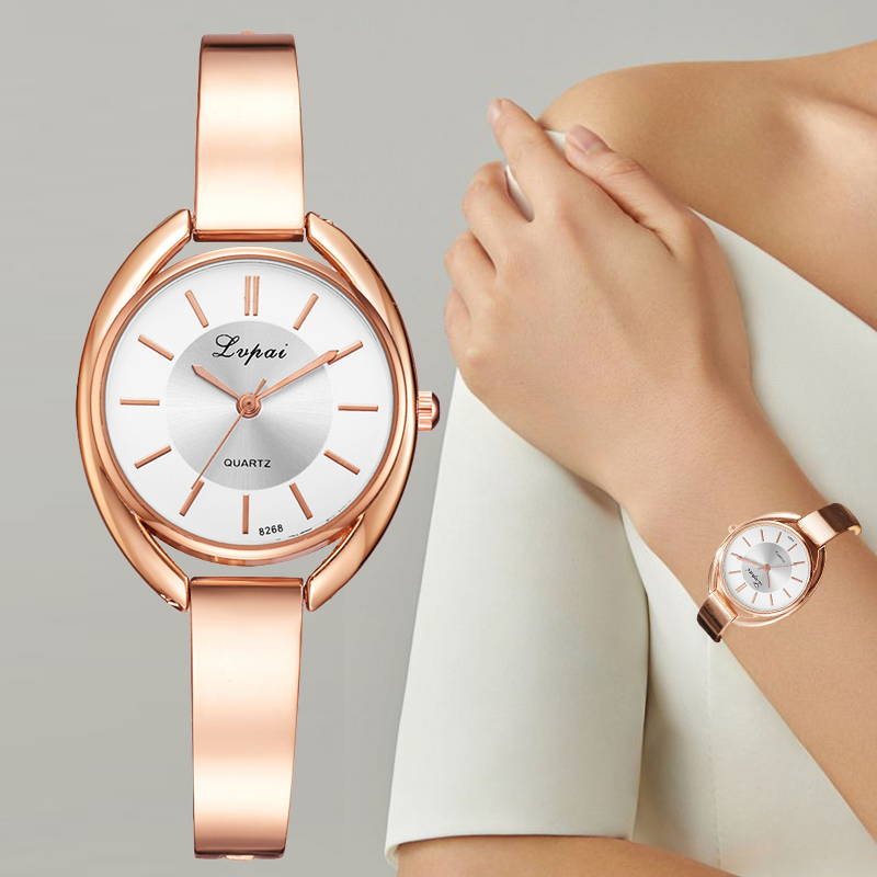 Hot DealsLvpai Women Dress Watches Quartz Rose-Gold 2pcs-Set Fashion Ladies Luxury Brand Bracelet