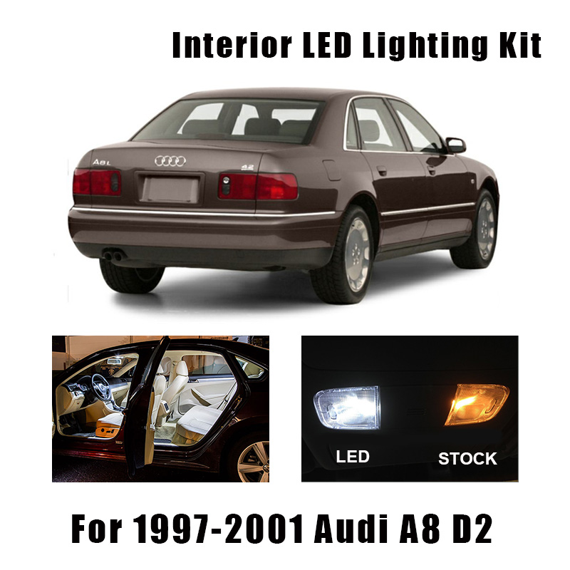 17 Bulbs White Canbus LED Interior Reading Light Kit Fit For 1997-2000 2001 <font><b>Audi</b></font> <font><b>A8</b></font> <font><b>D2</b></font> Map Dome Trunk License Lamp No Error image