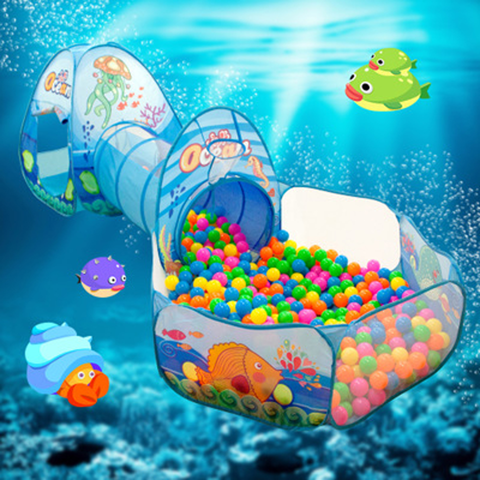 3 In 1 Kids Playpen Ocean Print Baby Playground Ball Pool Portable Baby Play Tent Balls For The Dry Pool Child Safety Barrier