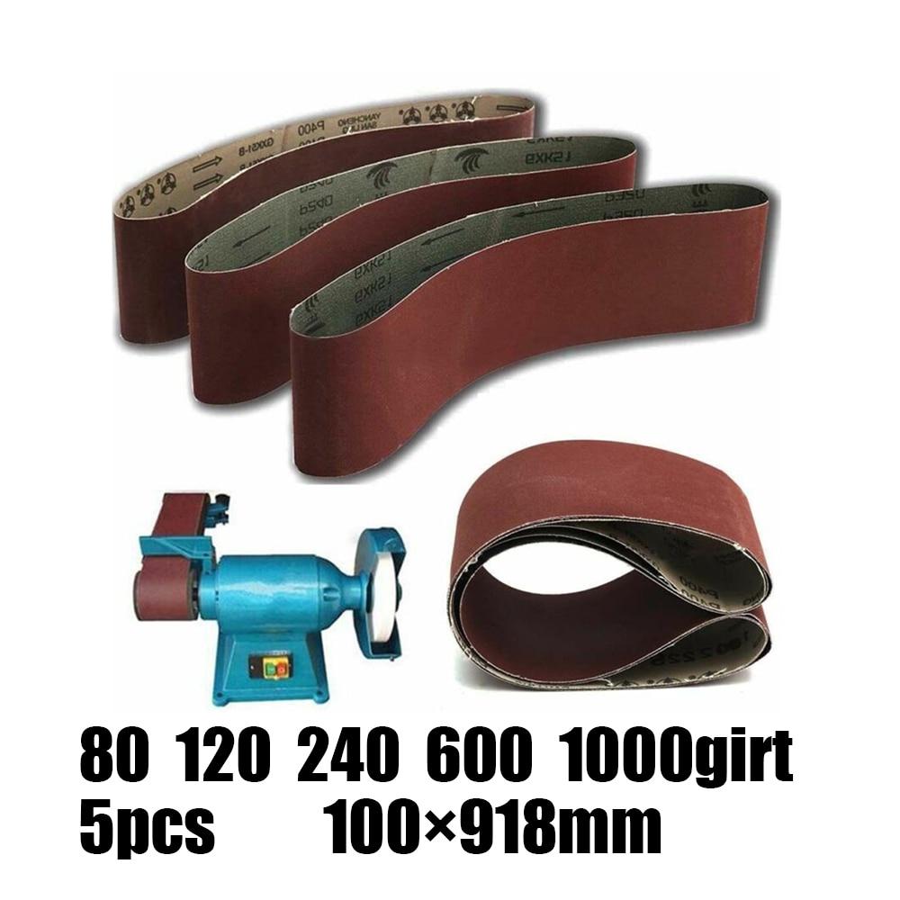 5pcs Abrasive Sanding Belts 100x915mm 80 120 240 600 1000 Grit Woodworking Abrasive Tools Wood Wood Soft Metal Sander Belt