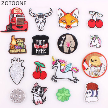 ZOTOONE Cute Car Bear Heart Patch Iron on Animal Patches for Clothing DIY Embroidery Stripe on Clothes Cloth Applique Badge G image