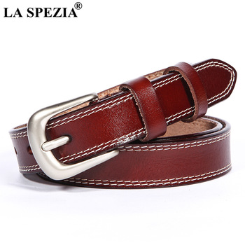 LA SPEZIA Women Belt for Trousers Vintage Red Pin Buckle Belts Female Classic Genuine Leather Cowhide Ladies