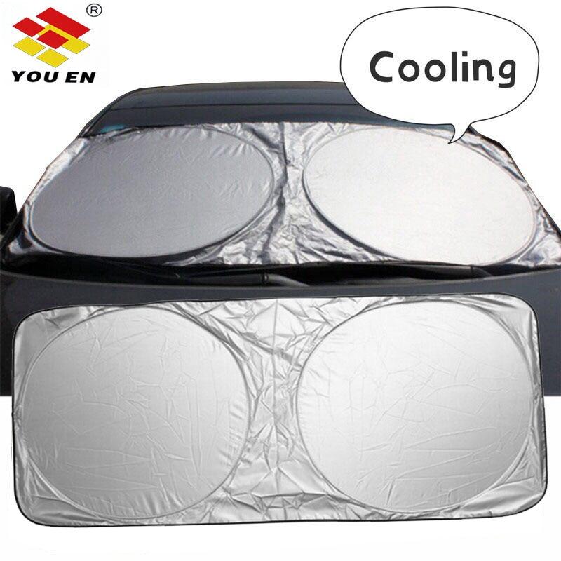 YOUEN ที่กำหนดเองกระจกรถยนต์ Sun Shade หน้าต่างด้านหน้าฝาครอบ Visor Sunshade เงินฟอยล์ Anti UV Reflector