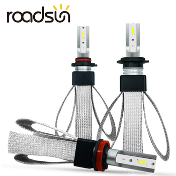 roadsun H7 LED H4 Car Lights H11 H1 H3 880 9005 9006 9007 9004 H13 LED Headlight Bulb Auto Lamp CSP Chips Automotivo 12V 6000K 2x f2 csp cob car led headlamp auto headlight bulbs lamp h3 h4 h7 h8 h13 h27 880 9004 9005 9006 900 led 4800lm 6500k 4300k 3000k
