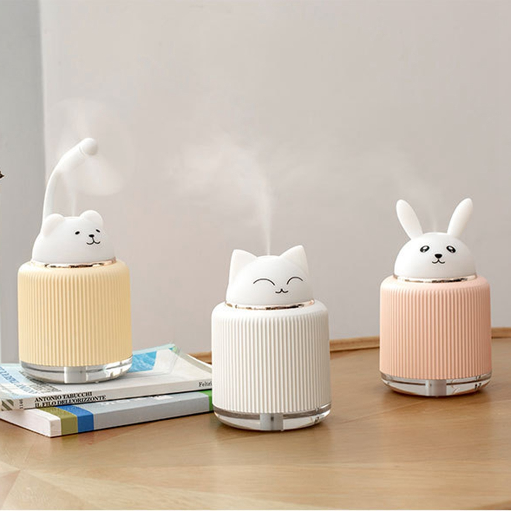3 In 1 300ML USB Cat Air Humidifier Ultrasonic Cool-Mist Adorable Mini Humidifier With LED Light Mini USB Fan For Home Office