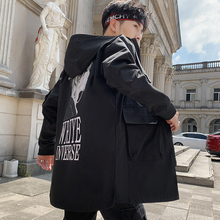 2021 New Arrivals Spring/Autumn Hooded Men's Windbreaker Streetwear Trench Coat Jackets For Men Style Patchwork Clothes M-3XL