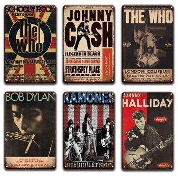 Johnny Cash Bob Dylan motyw z zespołem Queen metalowy znak Vintage rockowe N Roll plakat na ścianę do baru z muzyką Pub człowiek jaskinia akcesoria do dekoracji domu