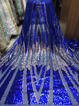 Blue Latest African Lace Fabric 2020 High Quality African French Net Lace With Sequins Embroidery Tulle Lace For Dress KJY9025