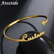 Atoztide 2020 Neue Personalisierte Eigene Matt Name Armband Einstellbar Edelstahl Offene Liebe Armreif Schmuck Geschenk Für Liebhaber