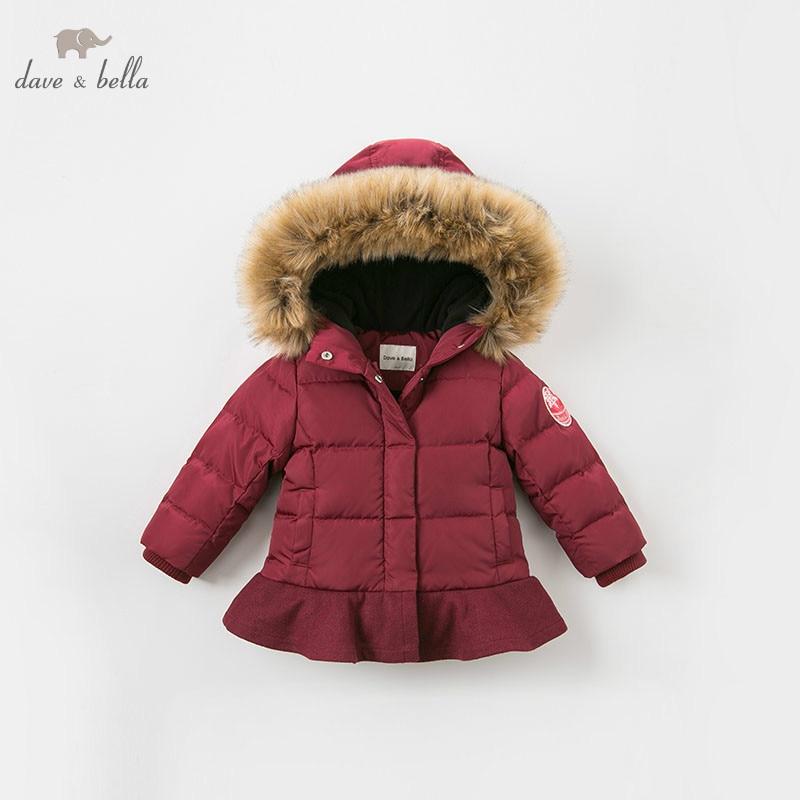 Dave bella winter baby meisjes donsjack kinderen 90% omlaag gewatteerde jas kids hooded bovenkleding met grote bont - 4