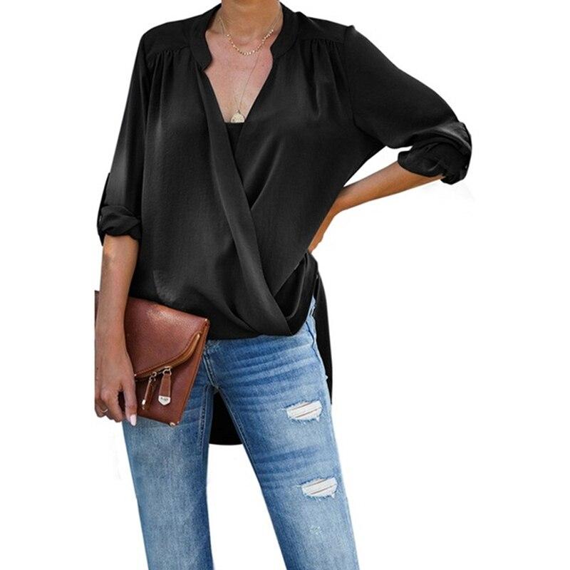 Женские Плиссированные асимметричные топы с v-образным вырезом и длинным рукавом, однотонная Повседневная драпированная рубашка