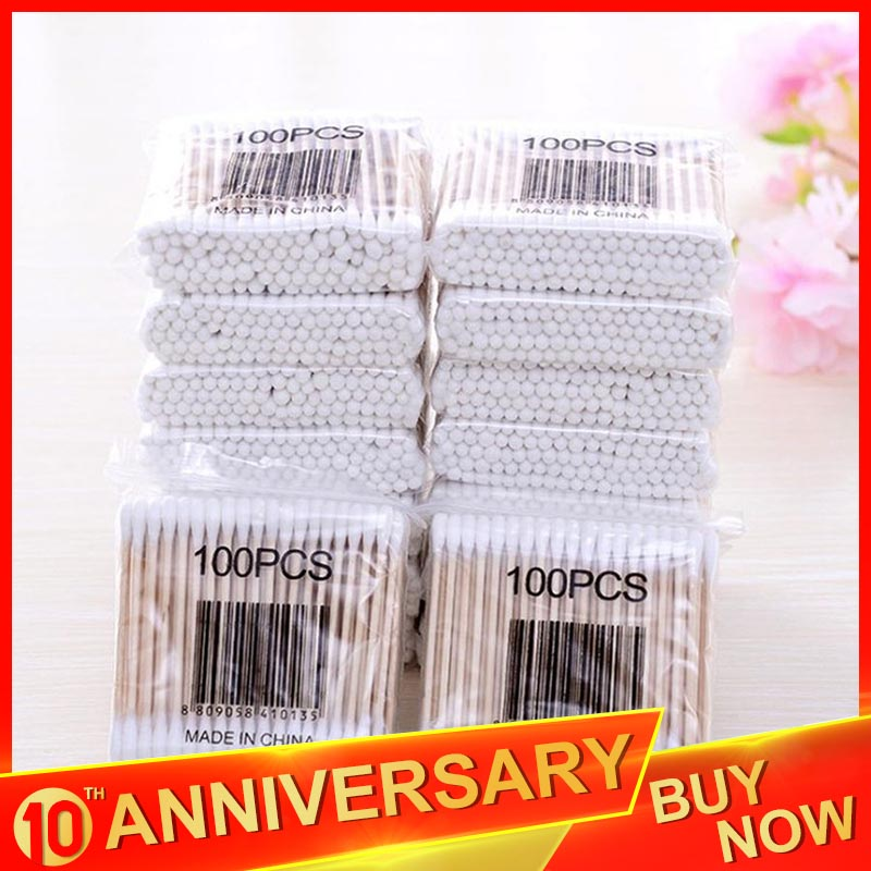 10*100pcs Cotton Swab Bamboo Cotton Buds Micro Brushes Ear Sticks Reusable Cotton Swab Wadded Sticks Wooden Ears Cleaning Tools