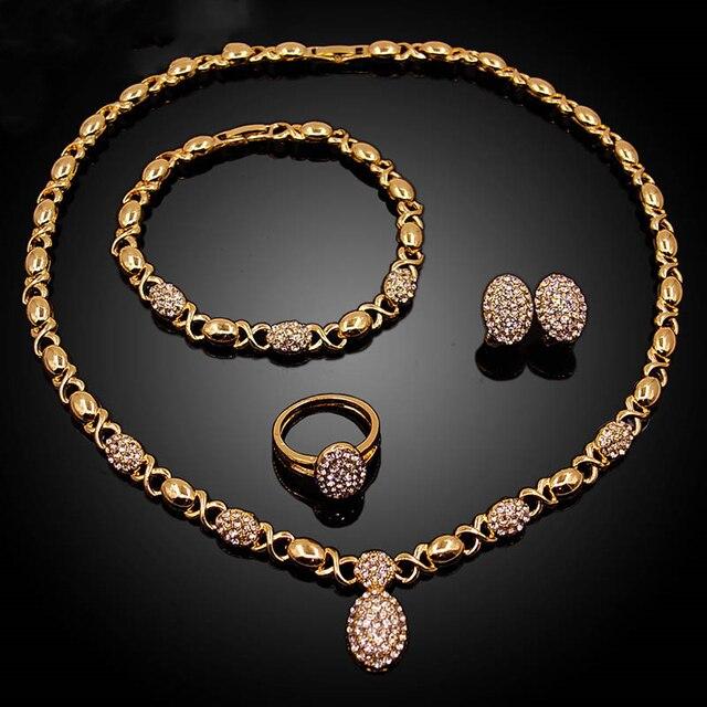 Conjunto de joyería en forma de O de cristal para boda, collar, pendientes, pulsera, anillo, Color dorado, de alta calidad, novedad, venta al por mayor 4