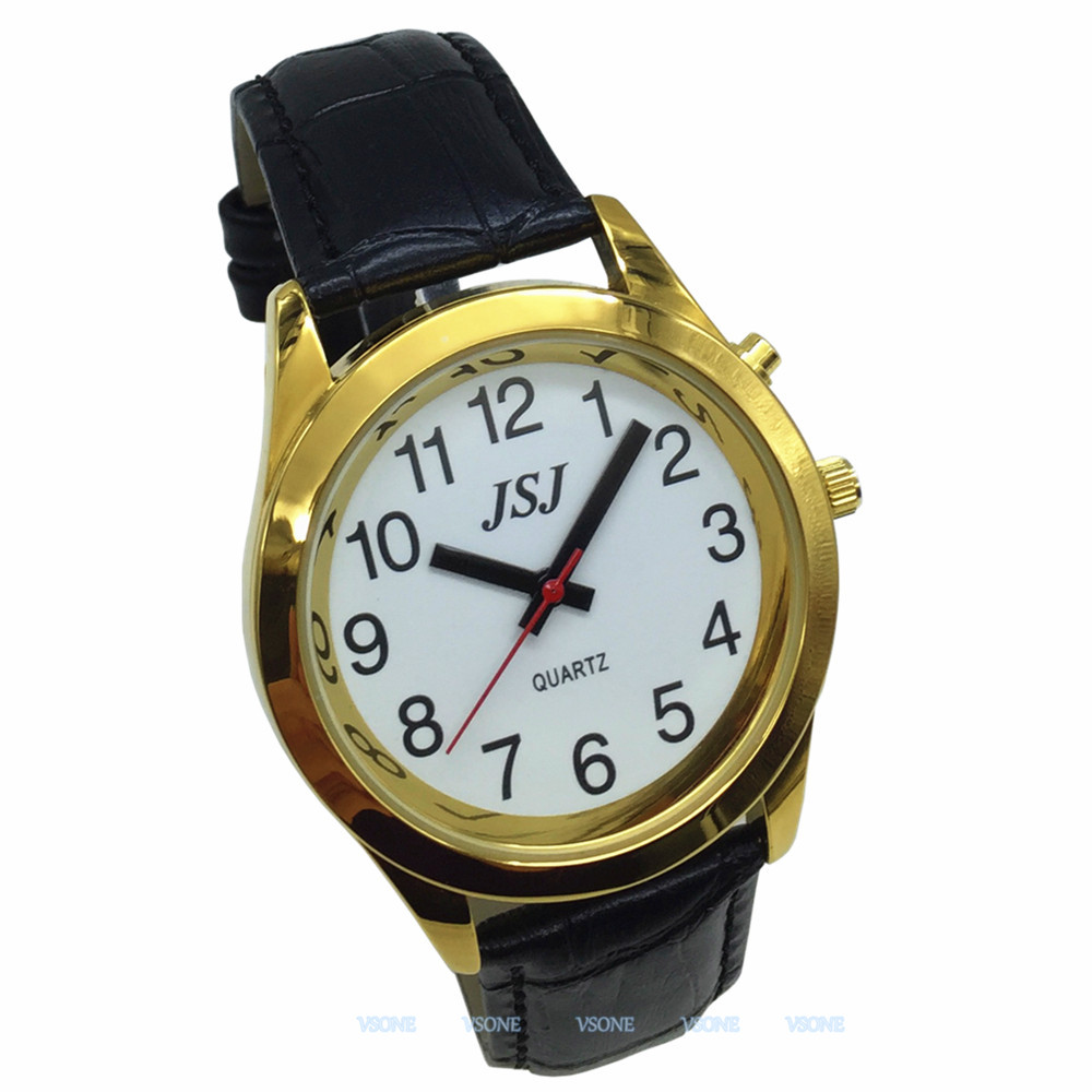 English Talking Watch With Alarm Function, Talking Date And Time, White Dial, Black Leather Band, Golden Case TAG-707