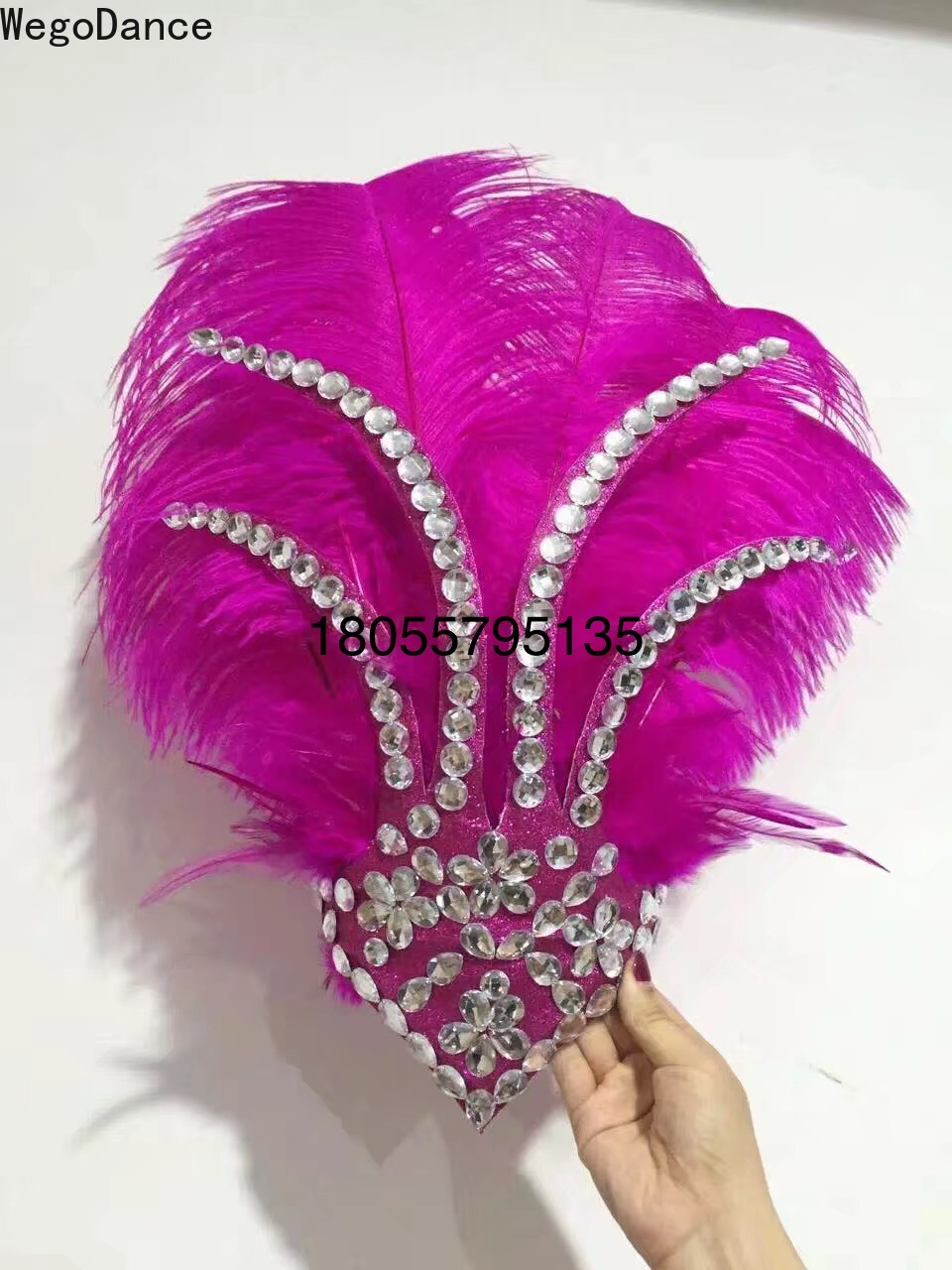 Samba Dance Headdress Ostrich Hair Opening Show Costumes Big Feather Headwear For Women