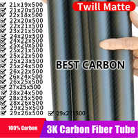 Free shiping OD21 22 23 24 25 26 27 28 29mm,with 500mm length High Quality Twill Matte surface 3K Carbon Fiber Fabric Wound Tube