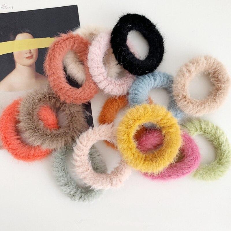 AOMU 2019 Warm Faux Fur Elastic Hair Bands For Girls Headwear Ponytail Holder Mink Hair Rubber Bands Women Hair Accessories