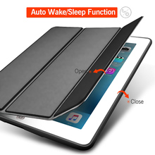 Soft Silicone Case PU Leather Smart Cover Compatible for iPad Air 2nd 6th Generation SP99