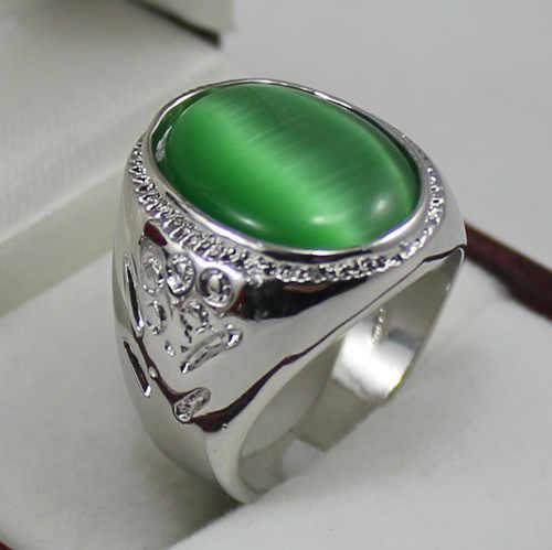 Szlachetny! 6 kolorów 13X18MM niebieski/zielony/fioletowy/żółty/czerwony/szary kocie oko kamień męski pierścionek