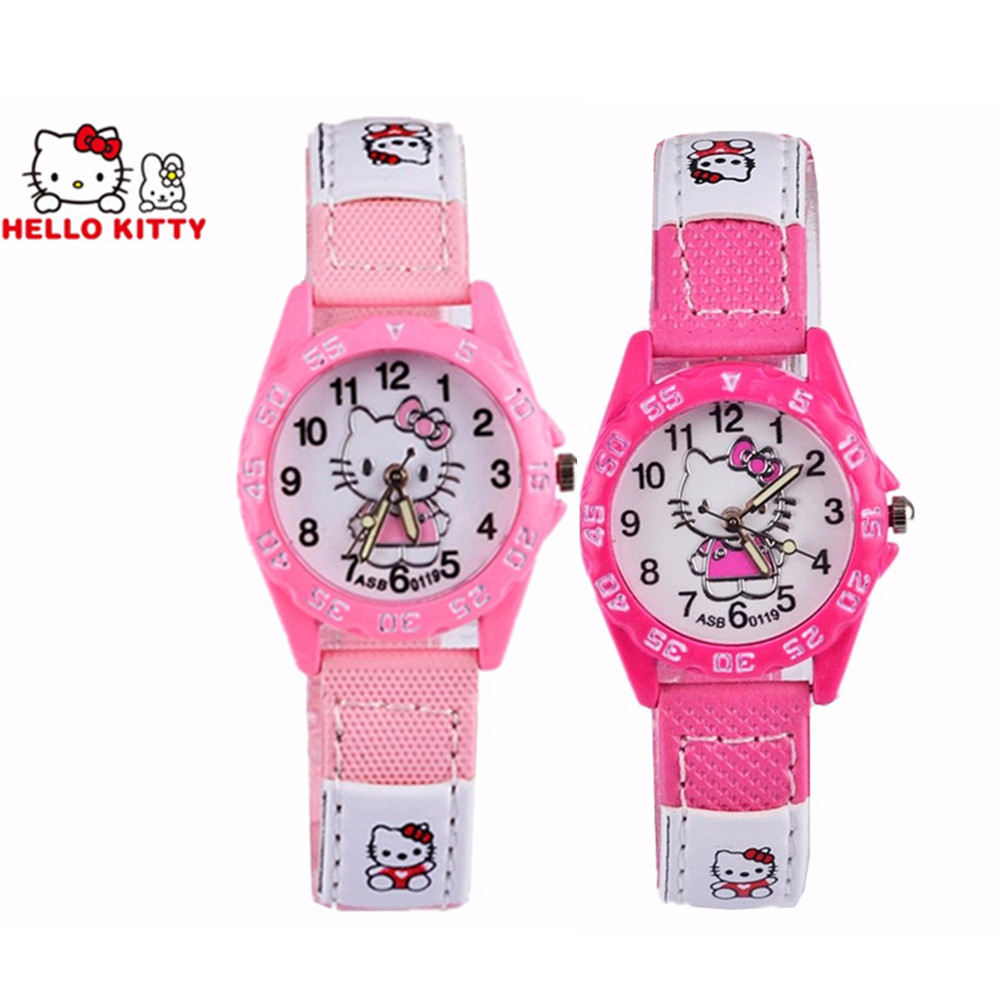 Hello Kitty Children Watch Cute Cartoon Pattern Girls Kids Watch Pink Rose Red Small Dial Clock Girls Babys Gift Montre Enfant