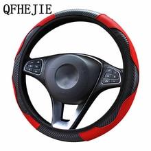 Araba direksiyon kılıfı nefes Anti kayma PU direksiyon kapakları uygun 37 38cm otomatik direksiyon simidi koruyucu dekorasyon