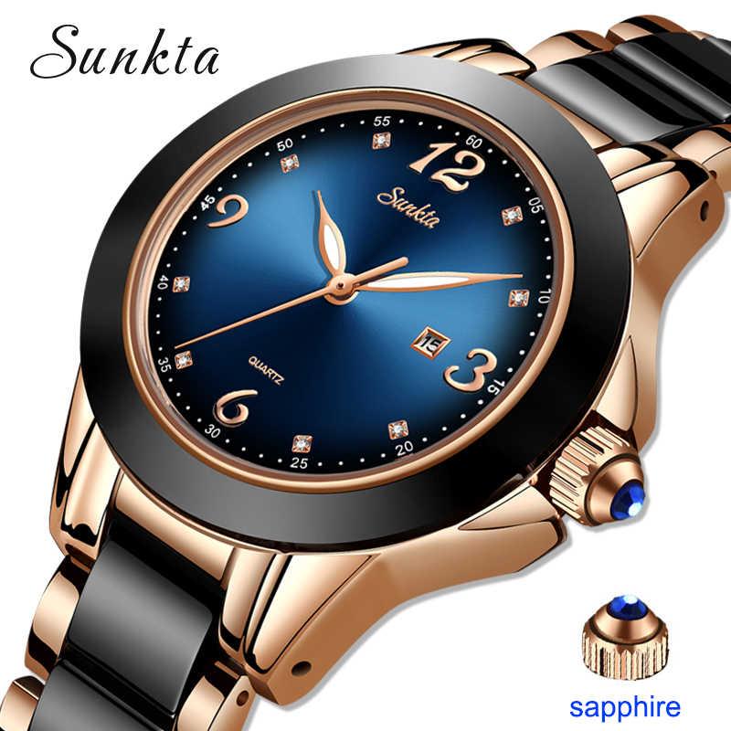 ליגע מותג SUNKTA אופנה נשים שעונים גבירותיי למעלה מותג יוקרה קרמיקה קוורץ שעון נשים עמיד למים צמיד שעון מתנה 2020
